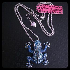 Betsey Johnson Blue Frog Pendant Necklace